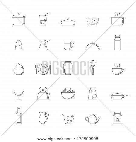 Crockery and cooking outline big icon set. Clean and simple design.