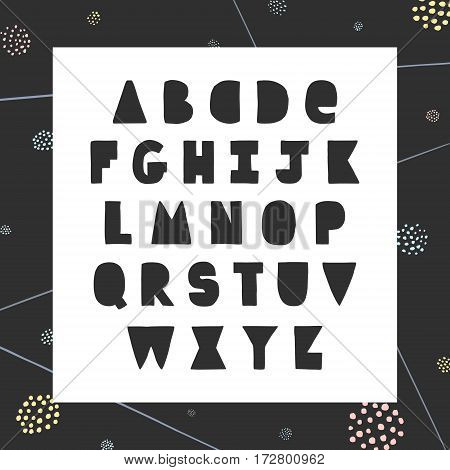 Funny handwritten ink bold alphabet. Hipster and vintage style. Perfect for your design!