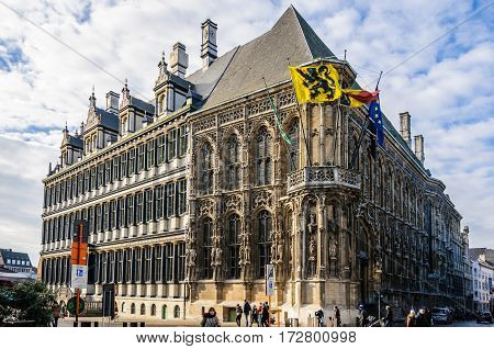 GHENT, BELGIUM - JANUARY 28, 2017: Town Hall in Ghent Flanders Belgium