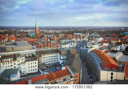 Lubeck aerial cityscape panorama. Lubeck, Schleswig-Holstein, Germany