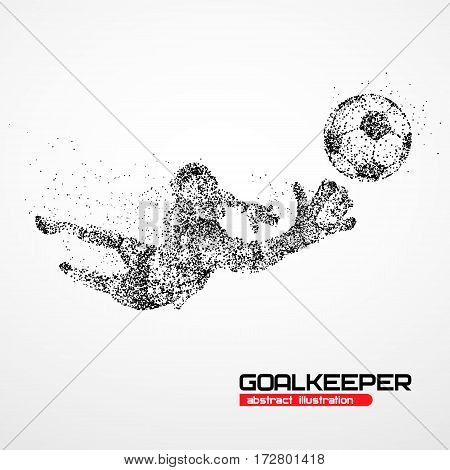 Abstract football goalkeeper jumping in black circles. Vector illustration.