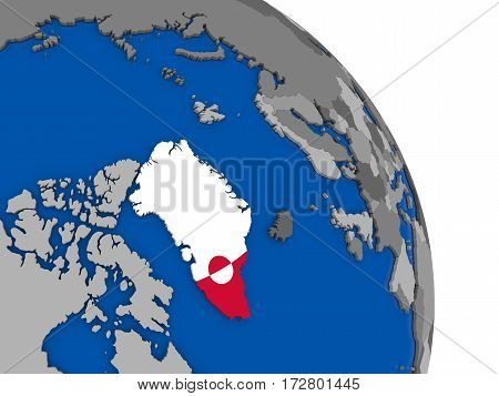 Greenland And Its Flag On Globe