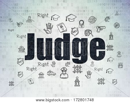 Law concept: Painted black text Judge on Digital Data Paper background with  Hand Drawn Law Icons
