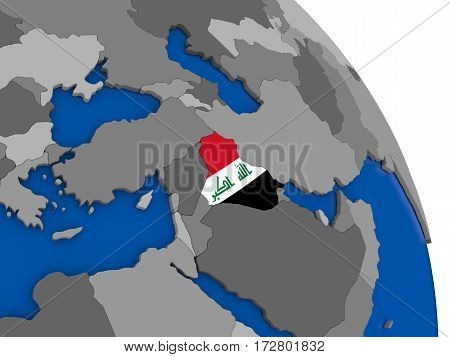 Iraq And Its Flag On Globe