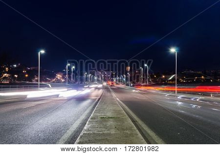 View of car streak lights at night in Autonomia bridge in Badajoz city