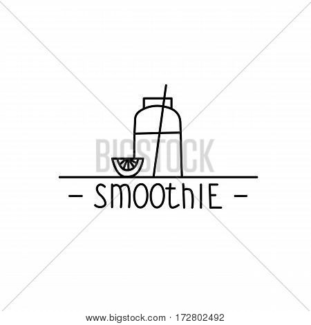 Smoothie - hand drawn brush text badge, sticker, banner, poster with doodle background. Handdrawn lettering for your designs vegetarian restaurant, cafe, bakery menu.