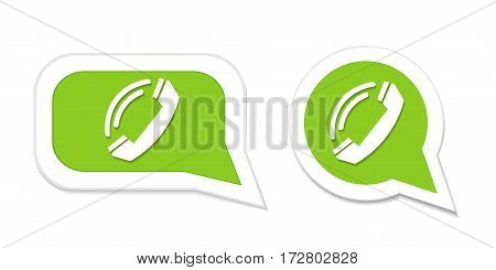 Phone handset in speech bubble icon. Vector illustration.
