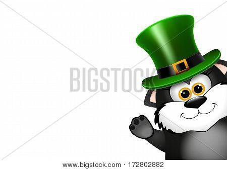 Black Cat in the Leprechaun hat. Saint Patricks Day card design. There is space for text. Vector illustration.