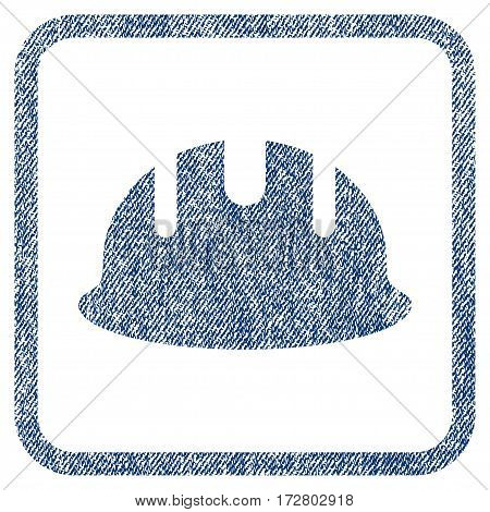 Builder Hardhat vector textured icon for overlay watermark stamps. Blue jeans fabric vectorized texture. Symbol with dirty design inside rounded rectangle.