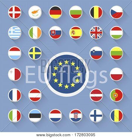 Vector set of European Union flags. Flat design.