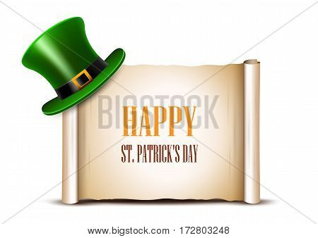 Saint Patrick Day card design. Green top hat and ancient paper roll on background. There is space for text.