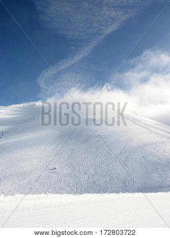Clouds Cover The Lifts In A Ski Center