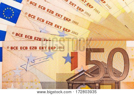 Detail Of Fifty Euro Banknotes