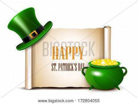 St.Patrick Day background with scroll paper. Vector illustration.