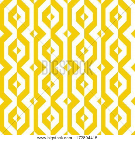 Vector geometric seamless pattern with lines and geometric shapes in yellow and white. Modern bold bright print with diamond shapes for fall winter fashion. Abstract dynamic tech op art background