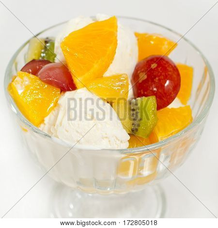 Ice Cream With Fruit In A Glass2