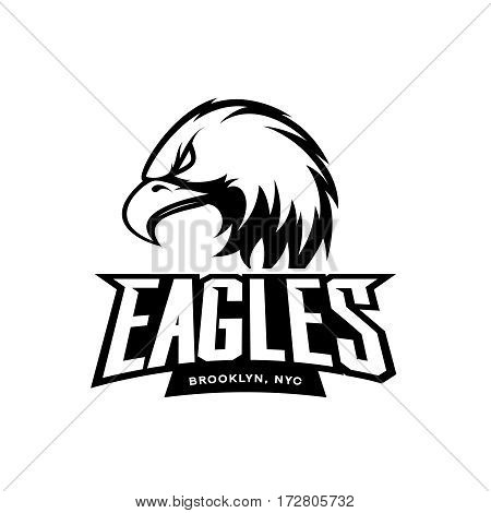 Furious eagle sport mono vector logo concept isolated on white background. Web infographic New York Brooklyn team pictogram. Premium quality wild bird t-shirt tee print illustration