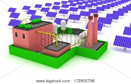 Plant energy with solar panels. 3D render