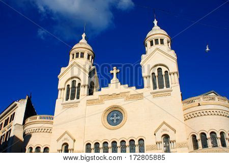 Architectural detail of Chiesa Valdese in Rome Italy