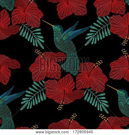 Embroidery hummingbird, exotic tropical bird with hibiscus flower. Vector fashion ornamental seamless pattern for textile, fabric traditional folk decoration.