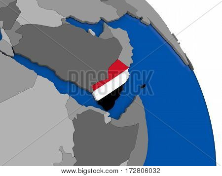 Yemen And Its Flag On Globe