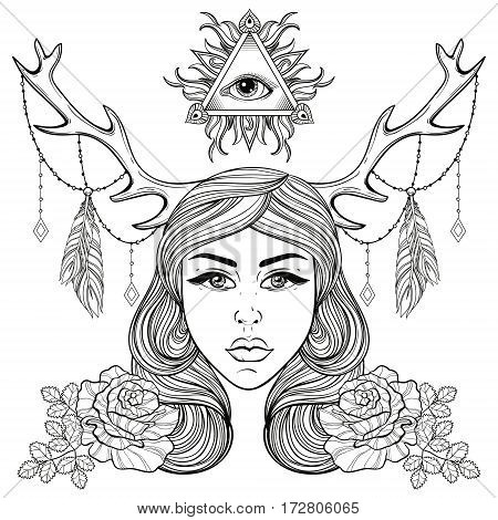 Beautiful girl with horns decorated boho elements. Vector  woman with roses, all seeing eye. Forest nymph for adult coloring pages, spirituality, occultism symbol, gypsy soul, tattoo template.