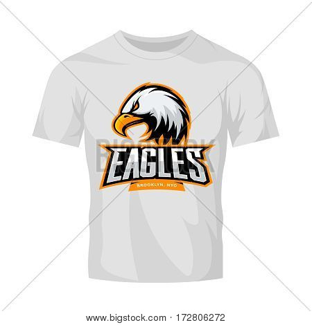 Furious eagle sport vector logo concept isolated on white t-shirt mockup. Modern web infographic New York Brooklyn team pictogram. Premium quality wild bird t-shirt tee print illustration