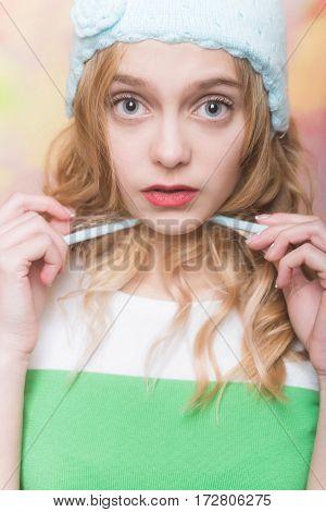 Pretty Girl Ties Cute Knitted Blue Beanie Hat