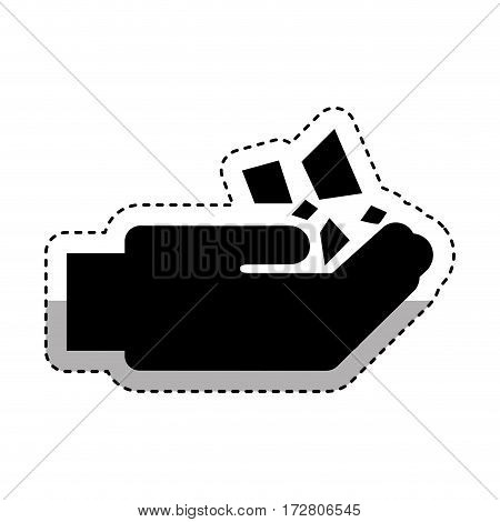 hand human with minerals vector illustration design