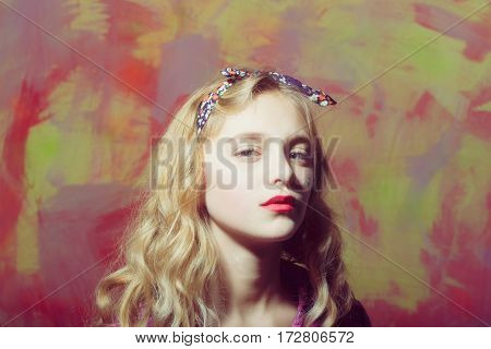 Pretty Girl With Red Lips And Blond Curly Hair