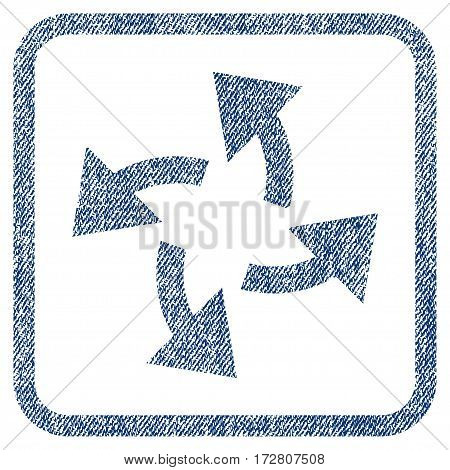 Centrifugal Arrows vector textured icon for overlay watermark stamps. Blue jeans fabric vectorized texture. Symbol with dirty design inside rounded rectangle.