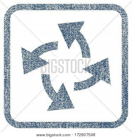 Centrifugal Arrows vector textured icon for overlay watermark stamps. Blue jeans fabric vectorized texture. Symbol with dust design inside rounded rectangle.