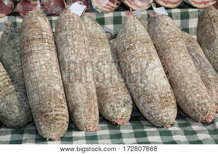 Many Meats And Salami For Sale In The Peasant Farm, Typical Of N