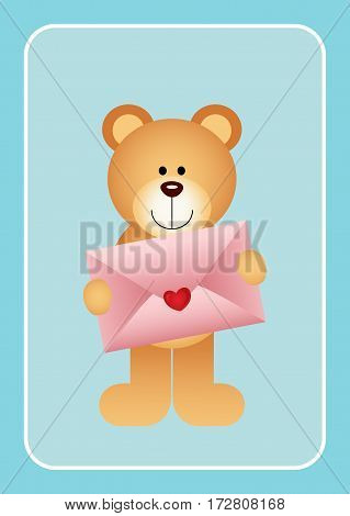 Scalable vectorial image representing a teddy bear holding love envelope on blue bacground.