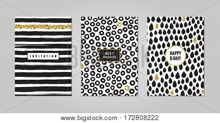 Black ink white and gold glitter hand drawn doodles and scribbles design templates vector set. Lines circles and drops. Part two.