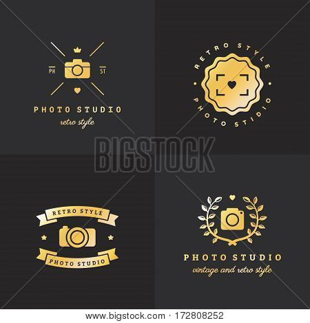 Photo gold logo vintage vector set. Hipster and retro style. Part one.