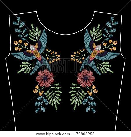Embroidery stitches with spring swallow bird, wild flowers for neckline. Vector fashion ornament on black background for textile, fabric traditional folk decoration.