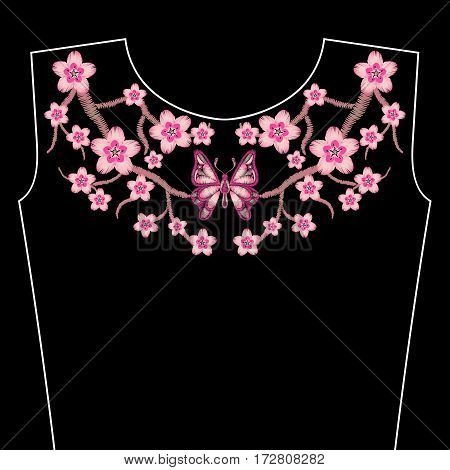 Embroidery stitches with spring Sakura flowers, branch of Japanese cherry blossoms. Neckline for fashion fabric, textile floral print. Fashion design for girl wearing decoration. Ornamental pattern.