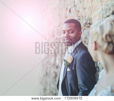 Handsome Bearded Man Or African American Groom