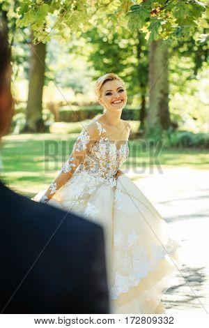 Pretty Girl Or Cute Bride In White Sexy Wedding Dress