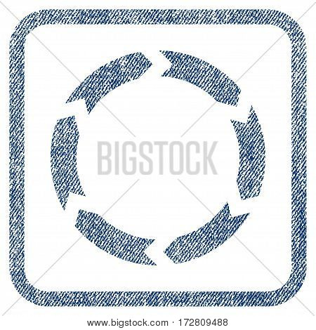 Circulation vector textured icon for overlay watermark stamps. Blue jeans fabric vectorized texture. Symbol with scratched design inside rounded rectangular frame.