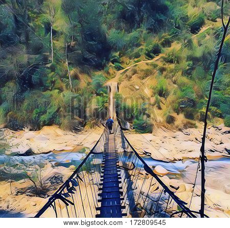 A man passes a suspension bridge. Vertical digital illustration of Nepal trekking. High and narrow suspension bridge above mountain river. Wooden suspension bridge. Abstract image of Himalaya nature