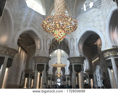 ABU DHABI, UAE-FEB 11, 2017: Sheikh Zayed Grand Mosque in Abu Dhabi, United Arab Emirates. It is the key place of worship and may be visited by more than 40,000 people during Eid.
