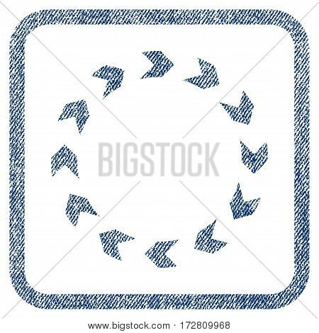 Circulation vector textured icon for overlay watermark stamps. Blue jeans fabric vectorized texture. Symbol with scratched design inside rounded rectangle.