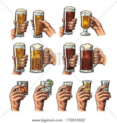 Man and woman hands holding and clinking glass with beer tequila vodka rum gin whiskey. Vintage color vector engraving illustration for poster invitation to party. Isolated on dark background