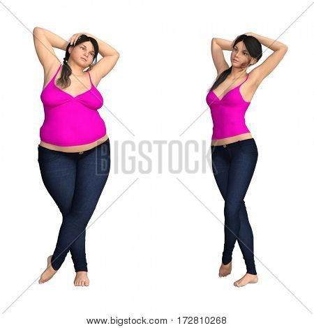 Concept or conceptual woman, girl as fat, overweight vs fit healthy, skinny female before and after diet, 3D illustration isolated on white background