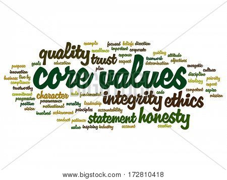 Conceptual core values integrity ethics abstract concept word cloud isolated on background