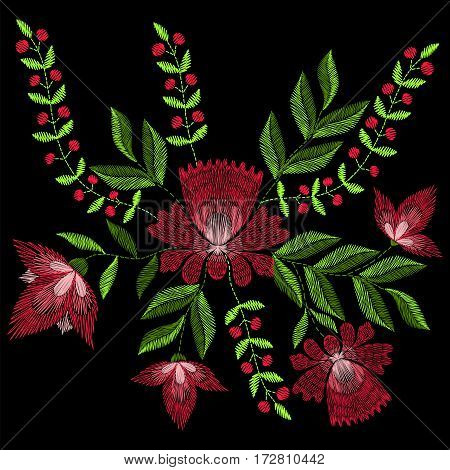 Embroidery stitches with spring rose flowers. Vector fashion ornament on black background for textile, fabric traditional folk floraldecoration.