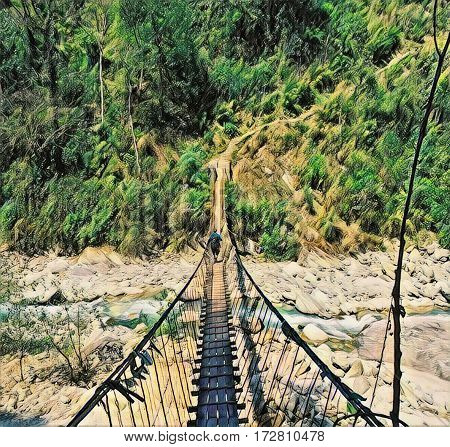 A man passes a suspension bridge. Vertical digital illustration in painting style. High and narrow suspension bridge above mountain river. Wooden suspension bridge. Outdoor sport - trek in Nepal