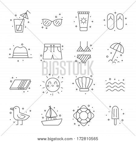 Summer beach vector icon set. Clean and simple outline design.